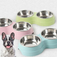 Double-layer Pet Bowl Dog Food Feeder Stainless Steel Pet Waterer Feeder