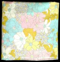Vintage Pastel Floral Bedsheet FULL FITTED Pink Yellow Blue Flowers NO TAG