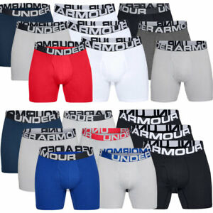 """Under Armour Mens Charged Cotton 6"""" Boxerjock 3 Pack Soft Boxer Shorts"""