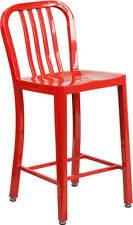 24'' Red Metal Counter Height Stool