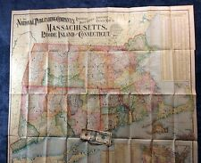 """RAILROAD & STATE 1902  36""""by40"""" LINEN BACKED MAP OF MASS R.I. CONN in COLOR"""