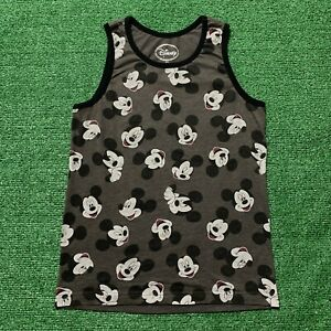 Disney Mickey Mouse Face Tank Top Shirt All Over Print Sleeveless Gray Size S