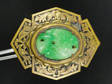 ANTIQUE CHINESE EXPORT CARVED JADEITE PENDANT MOUNTED PLAQUE