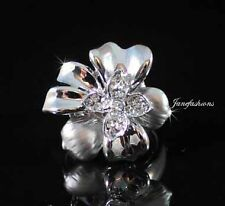 FLOWER FASHION COCKTAIL RING AUSTRIAN RHINESTONE CRYSTAL GOLD GP B1132W SIZE6