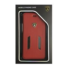 Lamborghini Huracan-D6 Genuine Leather+Real Carbon Book Case iPhone 7Plus Red