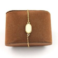 Ivory Cream Anklet or Bracelet Oval Acrylic Gold Tone Chain FAST SHIP USA