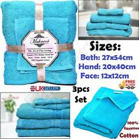 3 Pieces 100% Cotton Super Soft Bathroom Towels Face, Hand & Bath Towel Bale Set