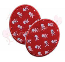 Buttons Piratenstoff 2 Stück Knieflicken Aufbügler Aufnäher Bügelbild patch rot