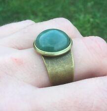 NEW! Green Aventurine Gemstone Handmade Unique Bronze Cuff Ring - Aussie Seller