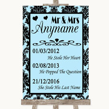 Wedding Sign Poster Print Sky Blue Damask Important Special Dates