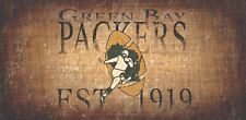 """Green Bay Packers Retro Throwback Established 1919 Wood Sign - Wall NEW 12"""" x 6"""""""