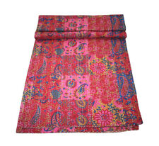 KING Vintage Indian Sari patch Handmade Kantha Quilt Bedspread Boho Throw Quilt