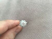 1.1 Carat Diamond Flower Design Solitaire Engagement Ring In Platinum N & Half