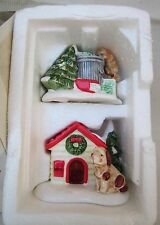 """Department 56 Snow Village """"CAT & DOG"""" Cat in Trash & Dog with His House New Box"""