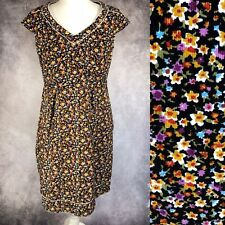 PEPPERBERRY Black Ditsy Floral Print Cord Corduroy Dress Size 10 RC Really Curvy