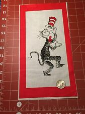 """Fabric Dr Seuss Cat in the Hat Portrait Red Frame Sq Quilt Sq 7"""" X 11 1/2"""""""