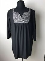 Plus Size Bob Mackie Wearable Art Embroidered Top Size 1X Black Silver Gray