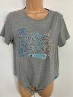WOMEN SUPERDRY GREY SHORT SLEEVE CREW NECK CASUAL SUMMER KNOT FIT T SHIRT SIZE S