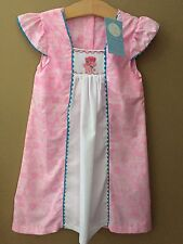 Girls 6 Smocked Pink Poodle Paris Print Long Dress New Nwt Button Back Spring