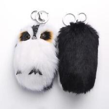 Black Cute Owl Soft Faux Rabbit Fur Plush Bunny Fluffy Keychain Car Pompom Decor