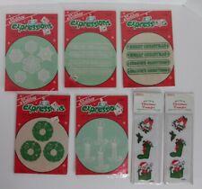 Vintage Christmas Fabric Iron On Transfer Lot Candle Wreath Snowflake Decor New