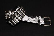 Estilo Punk Mujeres Cinturón negro pirámide postes de plata w y blanco país impresión (S399)