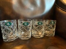 Ralph Lauren Brogan Set Of 4 Crystal Double Old Fashioned Glasses