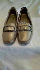 Cole Hann Sz 6M Women Gold Loafer Like Flats W/Buckle on Toe!! Free Shipping!