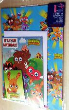BNIP New Moshi Monsters Gift Wrap Set - 1 Sheet of Paper 1 Tag 1 Card 1 Envelope
