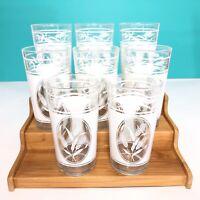Lot Of 7 Vintage Drink Tumbler Glasses Wheat Pattern Mid Century Barware