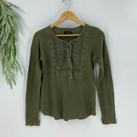 Lucky Brand Womens Long Sleeve Waffle Knit Lace Up Shirt Size M Green Top Knit