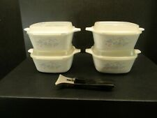 Corning Ware Country Cornflower Petite Pans with plastic lids & metal holder