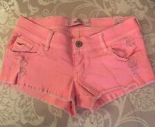 NWOT Hollister Neon Coral Destroyed Low Rise Denim Shorts Daisy Duke Sz 25 1