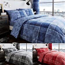 Denim Check Duvet/ Quilt Cover Bedding Set With Pillow Case All Size