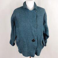 Eileen Fisher Women Wool Size 1X Dark Turquoise Coat Jacket Collar Long Sleeve