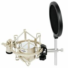 SOAIY Microphone Shock Mount with Pop Filter,MIC Anti Vibration Suspension Metal