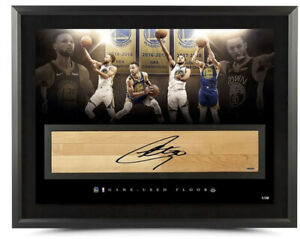 STEPHEN CURRY Autographed NBA Game-Used Floor Champion 36x24 Photo UDA LE 30