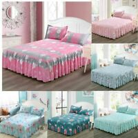 Bedding Set Flower Print Single Layer Bed Skirt Flat Sheet Bedspread Pillowcase