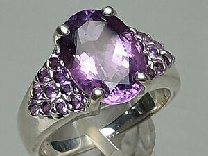 925 Sterling Silber Ring punziert großer natürlicher Amethyst besetzt RG 60/19mm