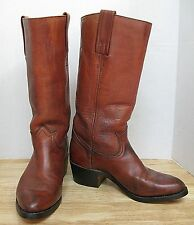VINTAGE--MENS FRYE LEATHER MOTORCYCLE BOOTS-- BROWN--COWBOY BOOTS--Size 8 1/2D