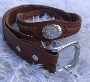 Woman/'s Vintage Cognac Tan Leather Belt Brass Antiqued Buckle and Ring Appliques