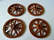 LEGO PART 4487 REDDISH BROWN SPOKED  4 x 4 WAGON WHEEL AXLE HOLE IN CENTER x 4