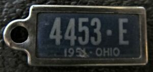 Ohio 1951 MINI License Plate KEYCHAIN TAG DISABLED AMER. VETERAN # 4453-E
