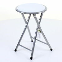 FOLDING ROUND WHITE STOOL SILVER FRAME SOFT PADDED KITCHEN SEAT CHAIR FOLDABLE