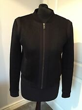 Banana Republic Black Textured VARSITY Scuba Bomber Jacket US 4 UK 8 Worn Once