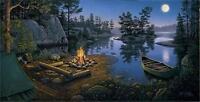 Moonlight Bay Lake Canoe Campfire Print By Kim Norlien  32 x 16