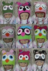 Wholesale Lot 9 Handmade Knit Crochet Hat Newborn Baby Child Kids Owls Hat Cap