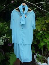 Lovely Pale Blue Summer Skirt Suit Tunic Top Blouse+Scarf-Size 20 22 24 26 28 30