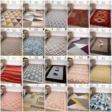 Living Room Fireplace Hearth Floor Rug Runner Carpet Mat Geometric Ochre Grey