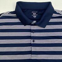 George Polo Shirt Men's Size 3XL XXXL Short Sleeve Navy White Striped Polyester
